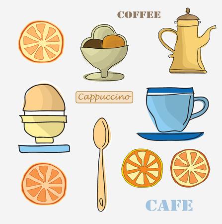 Set of menu items