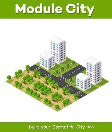 modern office: City isometric set