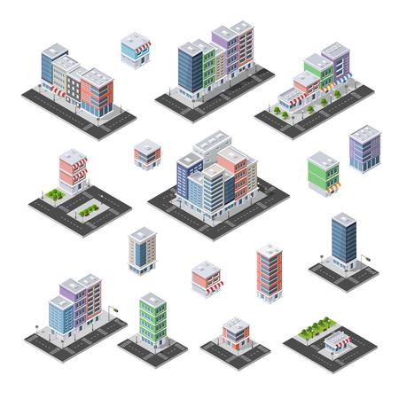 modern office: Set of isometric city