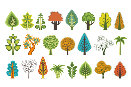 A set of flat silhouettes of trees