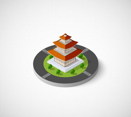 Chinese pagoda building Vettoriali
