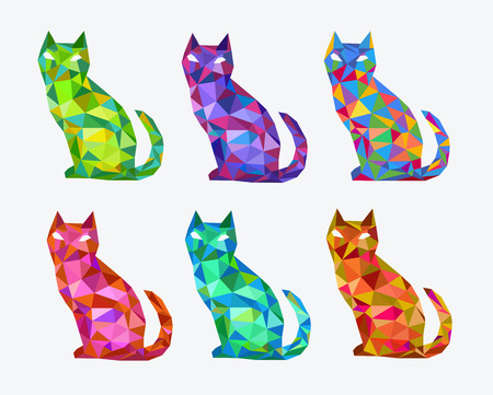 Abstract polygonal colored cats