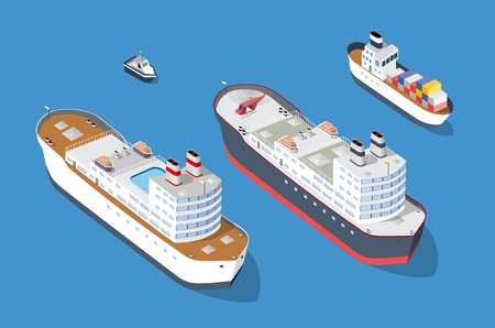 Cruise boat and naval ships