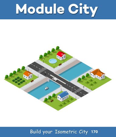 village Isometric vector illustration Illustration