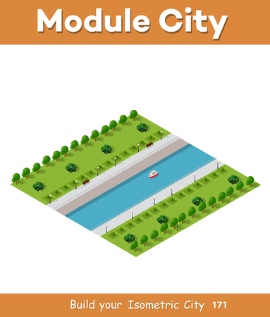 River along the city vector icon Illustration