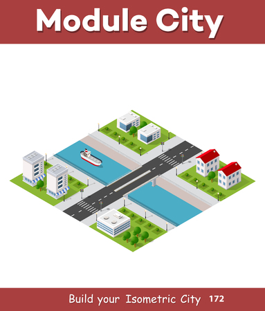 River along the city Isometric vector illustration