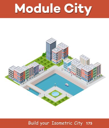 City along the river Isometric vector illustration Illustration