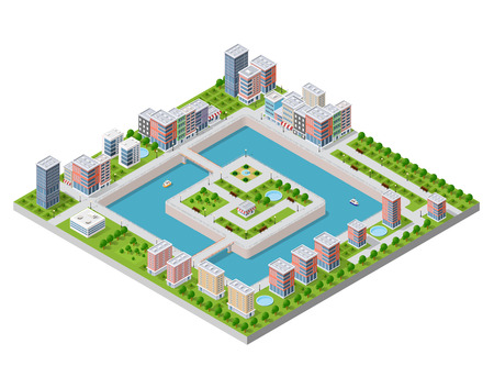 City Isometric vector illustration