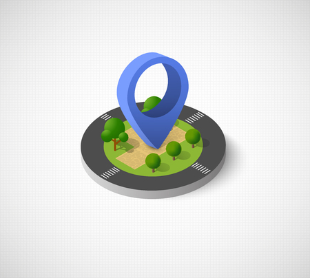 Isometric vector icon illustration of a modern city dimensional views of a town with direction indicator