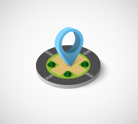 Isometric vector icon illustration of a modern city  with direction indicator