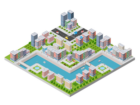 Isometric illustration of a city waterfront Stock Vector - 88244563