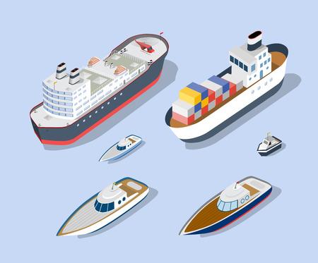 Isometrische Modelle von Schiffen, Yachten, Booten und Seefrachtfahrzeugen. Vektorgrafik