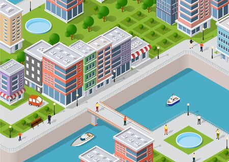 Isometric illustration of a city waterfront with a river, yachts and city buildings and houses. Stock Vector - 88245038