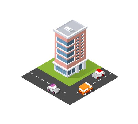 District of the city street houses. Isometric infrastructure, urban buildings and construction. Illustration