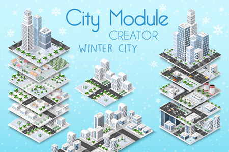 City module creator isometric concept of urban infrastructure business. Vector building illustration of skyscraper and collection of urban elements architecture, home, construction, block and park Ilustração