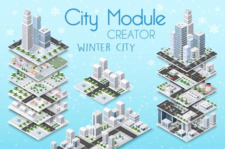Concetto isometrico del creatore del modulo di città dell'infrastruttura urbana. Vector la costruzione dell'illustrazione del grattacielo e della raccolta dell'architettura, della casa, della costruzione, del blocco e del parco urbani degli elementi