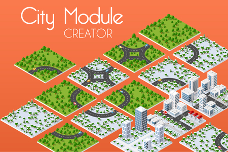 City module creator isometric concept of urban infrastructure business. Vector building illustration of skyscraper and collection of urban elements architecture, home, construction, block and park Illustration