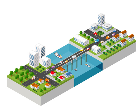 The bridge skyway of urban infrastructure  isometric for games.