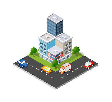 Isometric icon illustration of a modern city dimensional views.