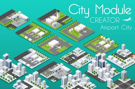 City module creator isometric airport of urban infrastructure business. Illustration