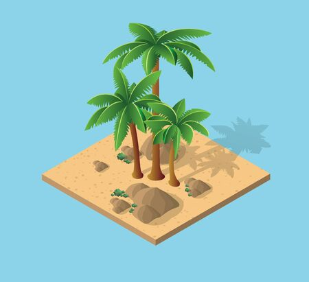 Natural desert landscape isometric palm trees with tropical landscape with sand and rocks. Illustration