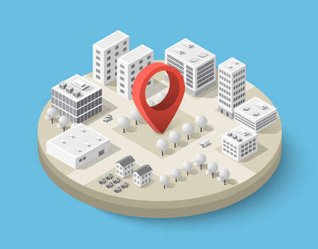 Isometric pin icon on the navigation map for positioning travel and transport.