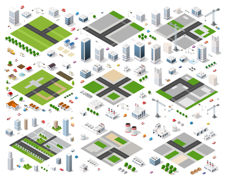 Set of isometric modules for construction and constructing the urban area of the city infrastructure with transport, streets, houses and trees Illustration