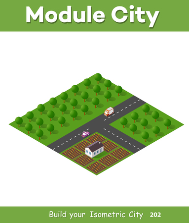 Isometric modules for construction the urban area of the city infrastructure with nature, forest, transport, and trees Illustration