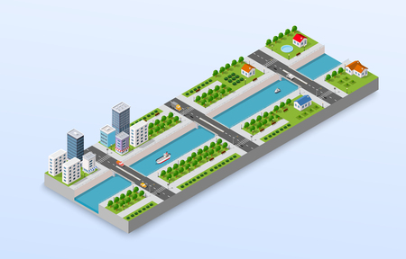 Isometric illustration of a city waterfront with a river, yachts and city buildings and houses.