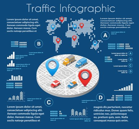 lorries: Infographics of urban road transport and traffic in the field of industrial construction and heavy industry. Template for presentation and design