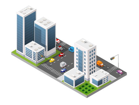 Urban Isometric area of the city infrastructure