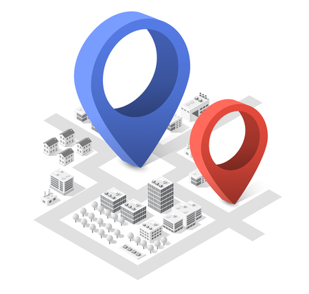 navigator: Isometric city with skyscrapers with houses, streets and buildings. Navigation pointer arrow direction of movement and travel Illustration