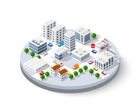 Isometric city with skyscrapers Illustration