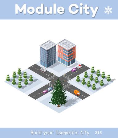 Winter Christmas urban quarter modules