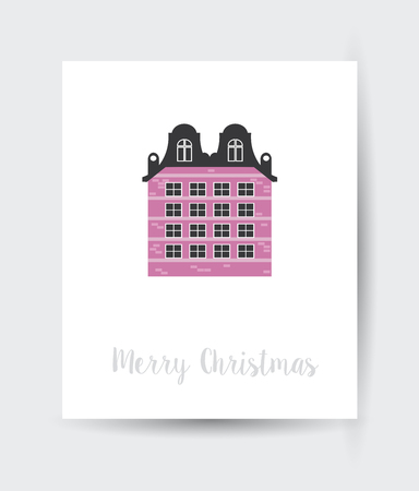 Christmas winter landscape flat city xmas card urban building background for holiday and design Vettoriali
