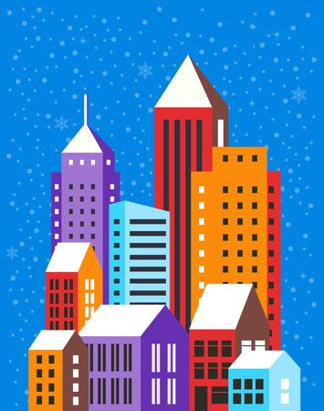 Christmas winter landscape flat city xmas backdrop urban building background for holiday and design