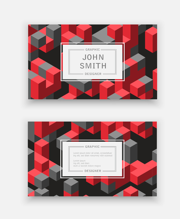 Abstract isometric set dimensional 3D shape template for business cards, invitations, presentations and printing