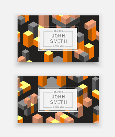 Abstract isometric set logotype dimensional 3D shape template for business cards, invitations, presentations and printing