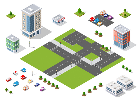 Set of town district of the city in isometric landscape urban infrastructure of houses, streets and buildings Vettoriali
