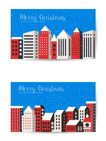 Christmas winter landscape flat city xmas postcard urban building background for holiday and design