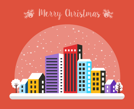 Urban village Christmas decorated design street winter landscape. Night City Snowy with houses. Xmas snowfall Happy Holidays banner. Decorative flat cartoon illustration.