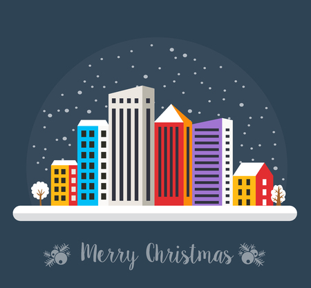 Christmas night in the city snowy with houses and street. Urban village decorated design winter landscape Christmas snowfall happy holidays illustration decorative flat cartoon banner.