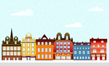 Urban village Christmas decorated design street winter landscape. Night City Snowy with houses snowfall Happy Holidays banner. Decorative flat cartoon illustration.
