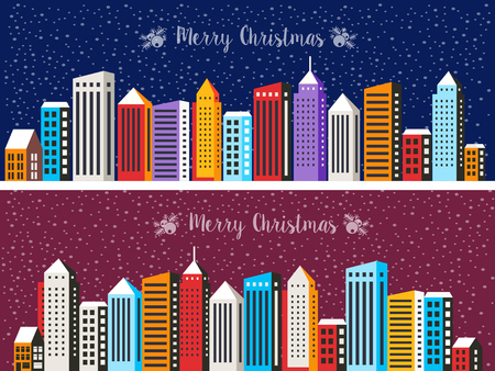 Night Christmas City Snowy with houses and street. Urban village decorated design winter landscape. Xmas snowfall Happy Holidays illustration. Decorative flat cartoon banner.