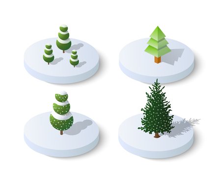 Winter snowy christmas icon nature trees forest landscape. Isometric tree design icon. Vettoriali