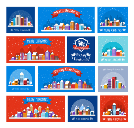 Urban town Christmas decor design winter street scene. Night city snowy with houses. New Year snowfall. Celebratory banner. Decorative flat cartoon illustration.