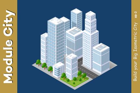 Set of urban areas of modules, city illustration module