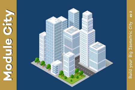 Set of urban areas of modules, city illustration module Vektoros illusztráció