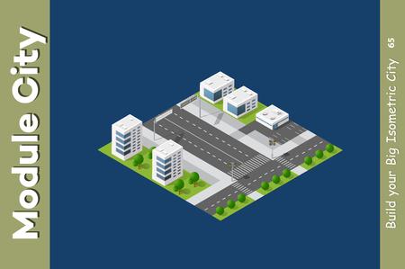 Urban Isometric skyscraper Vector illustration. Vettoriali
