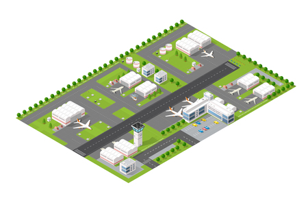 Isometric map of the city airport, the trees and the flight of construction and building, terminal, planes and cars vector illustration.